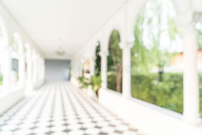 Blurred abstract background interior view looking out toward to stock photography