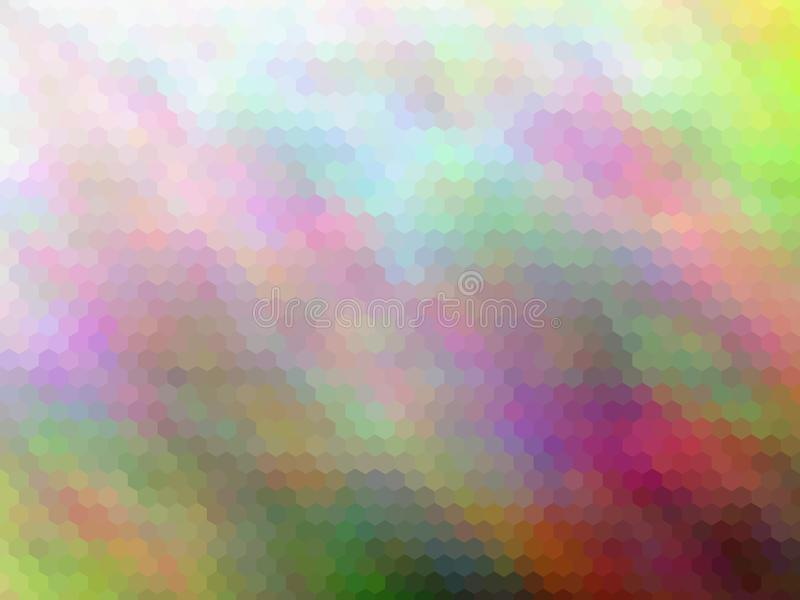 Blurred abstract background. Multicolor hexagonally pixeled abstract background. royalty free illustration
