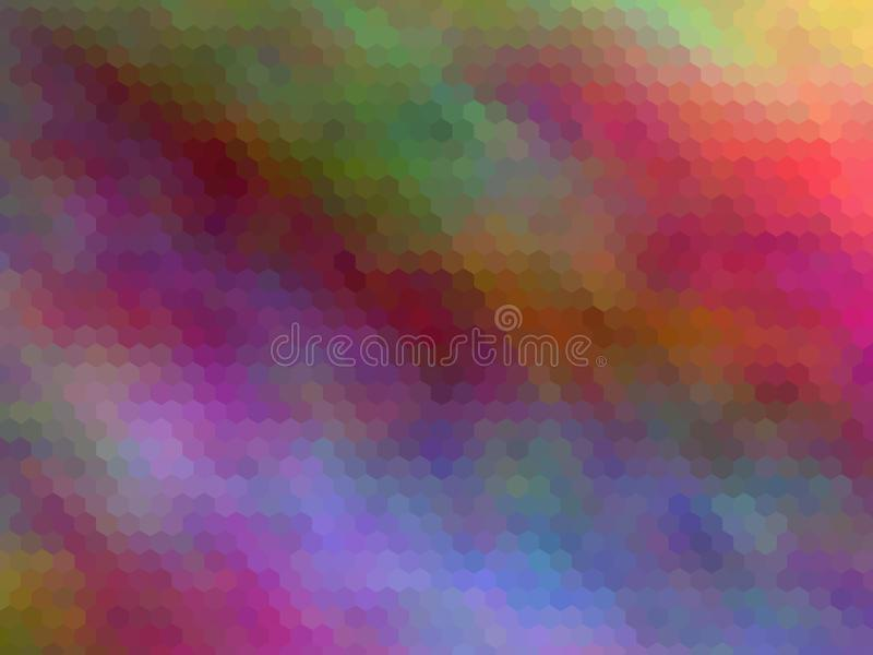 Blurred abstract background. Multicolor hexagonally pixeled abstract background. stock illustration