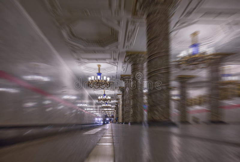 Blurred abstract view of metro station in Moscow. A blurred abstract view of a famous metro station in Saint Petersburg royalty free stock images