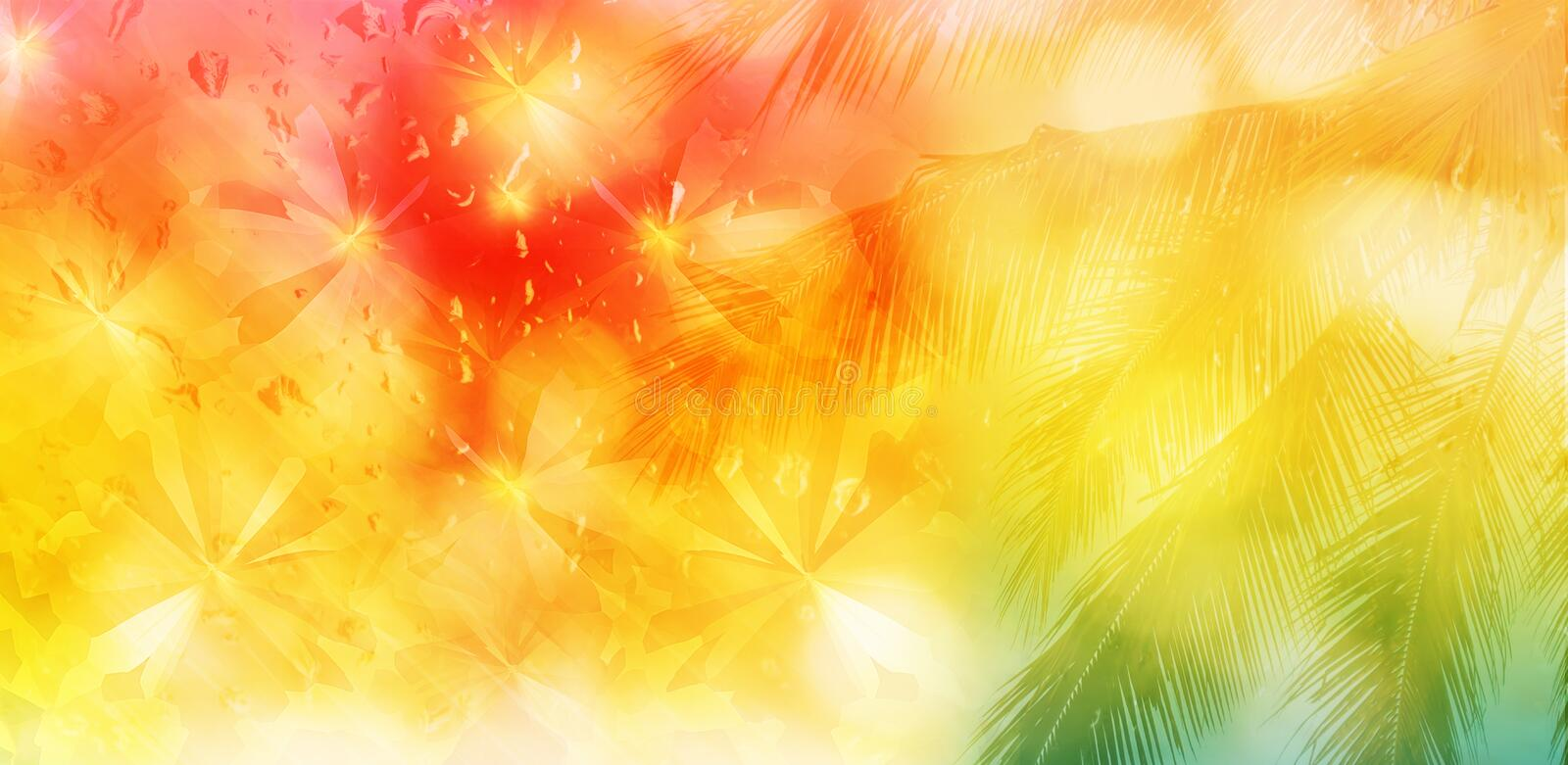 Blurred background of coconut tree and abstract butterfly on water drop pink orange yellow and green for summer background royalty free stock images