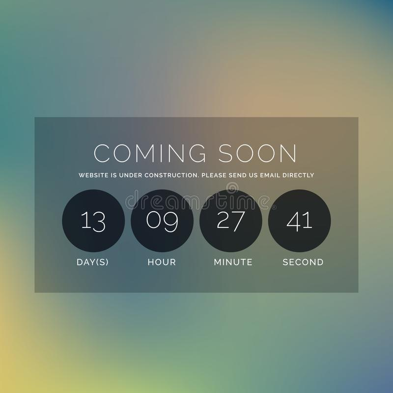 Blurred background with coming soon text and countdown timer vector illustration