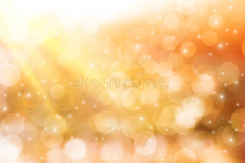 Blurred background concept for celebrating the New Year and festivals, and glittering golden circles and glittering stars with royalty free stock photos