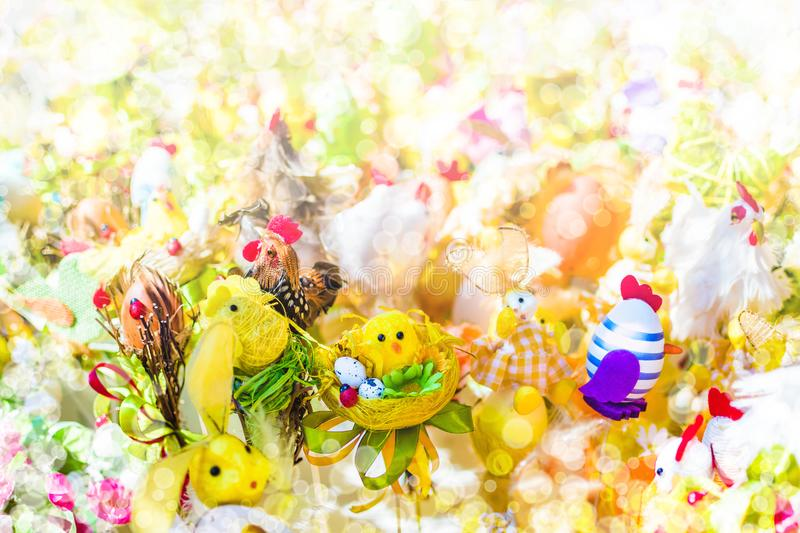 Blurred background Easter decorations stock photo