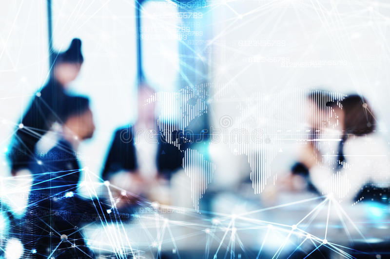 Blurred background with futuristic effect of business people. Blurred background with with futuristic effect of business people during a meeting stock photo