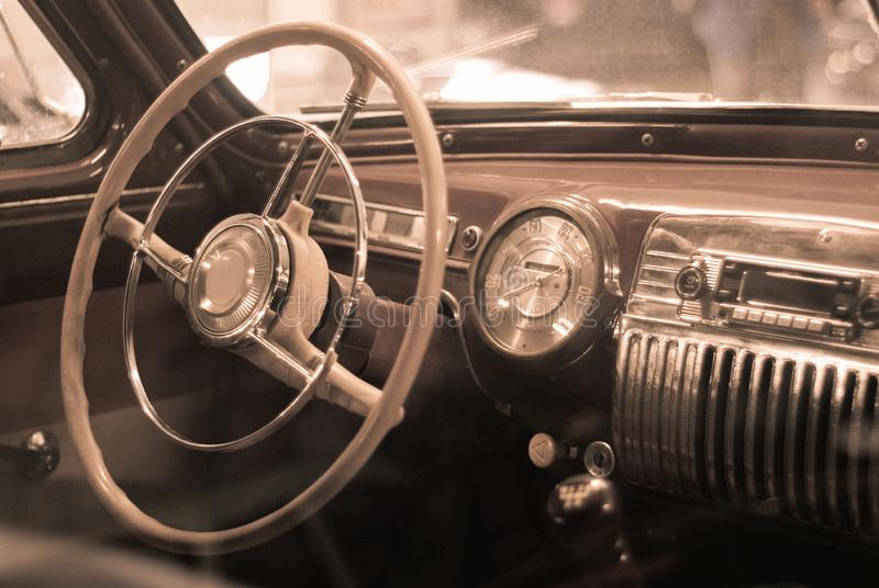 Background - interior detail of a vintage car royalty free stock photography
