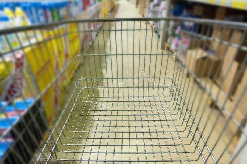 Blurred. Background in a mall or supermarket. Empty food basket. View from the eyes of a visually impaired person. royalty free stock photos