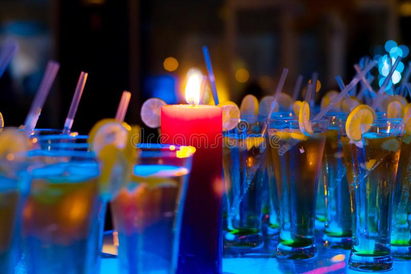 Blurred background with Many alcoholic drink glass royalty free stock image