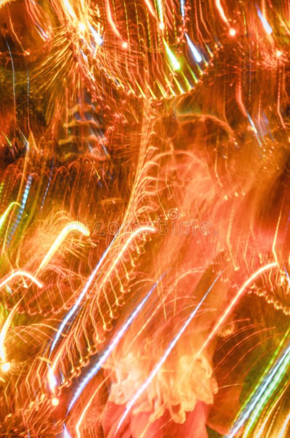 Blurred stage lights equipment with multicolored beams. Entertainment concert bokeh lighting. stock photo