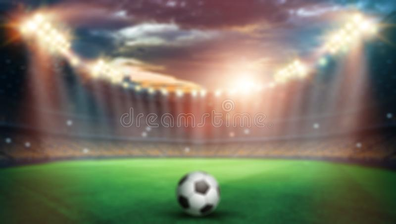 Blurred background, Stadium in lights and flashes, football field. Concept sports background, football, night stadium.  royalty free illustration