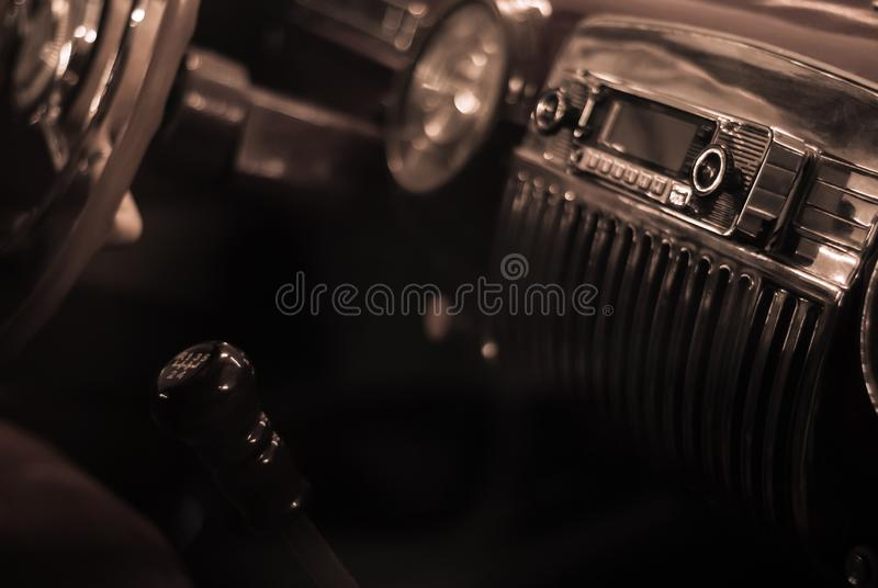 Interior of a vintage car stock images