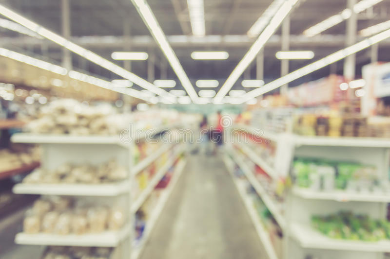 Blurred background : Thai people shoping in Supermarket store royalty free stock photos