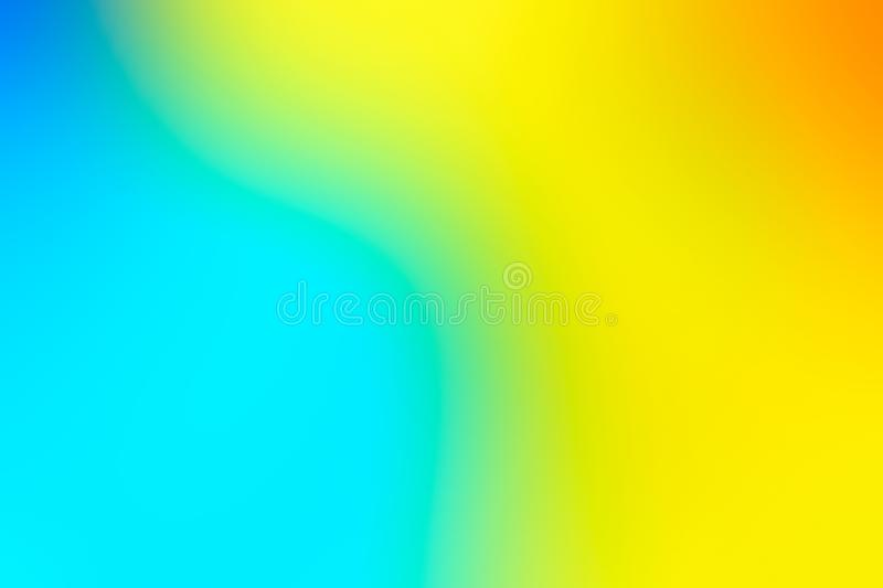 Blurred background in vibrant neon colors. Multicolored blurry texture pattern for design. Yellow and blue background royalty free illustration