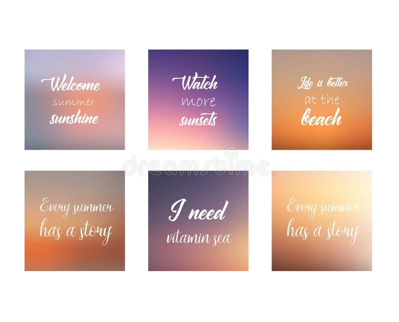 Blurred backgrounds collection. Summer quotes. Vector. vector illustration
