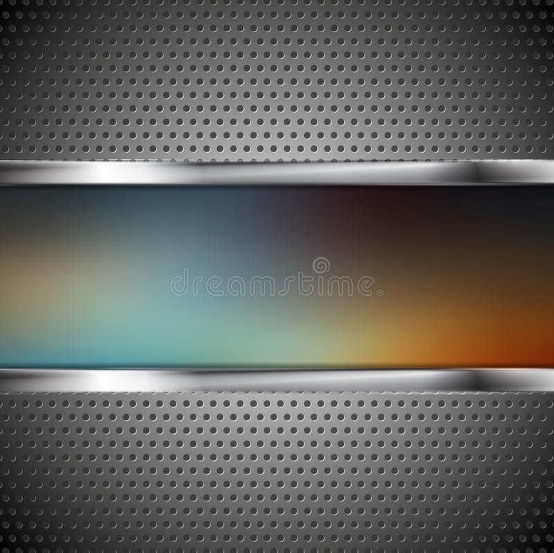 Blurred banner and perforated metal texture. Vector background vector illustration