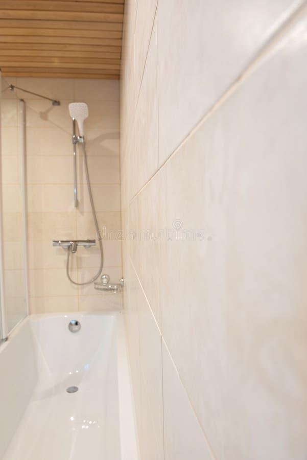 Blurred bathroom interior background in luxury apartment stock photo