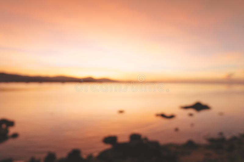 Blurred of beautiful blazing sunset landscape at black sea and m stock photos