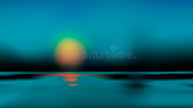 Blurred blue sundown on forest lake backdrop with light bokeh water surface. Dark nature blur background abstract art. Vector vector illustration