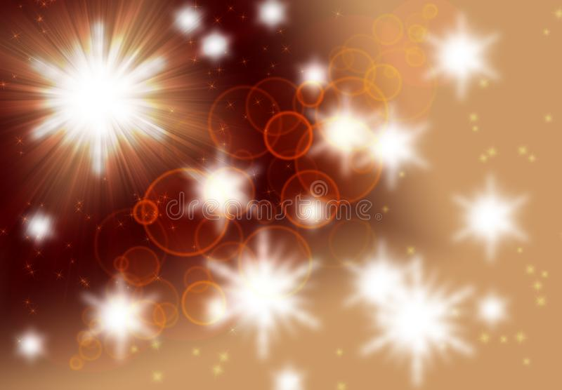 Blurred bokeh background, abstract brown-beige background with circles, highlights, light, star galaxy imagination, texture royalty free illustration