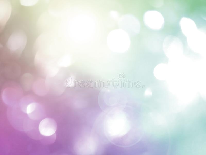Blurred bokeh background, blue, white, pink, circles, light effect stock image