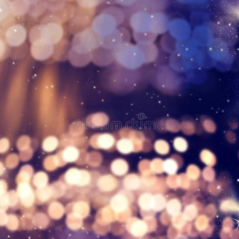 Blurred bokeh of Christmas lights. Background, abstract, bright, holiday, glow, celebration, shiny, xmas, glitter, design, decoration, festive, shine, color stock images