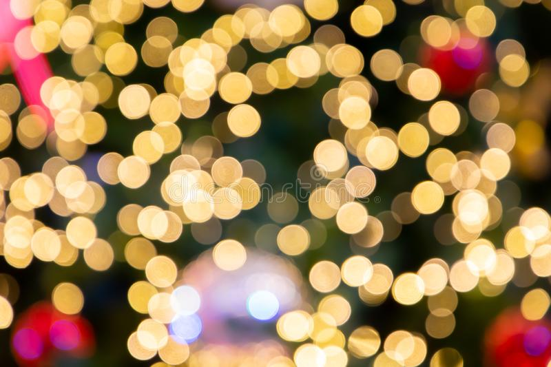 Blurred bokeh light background, Christmas and New Year holidays background. stock photography