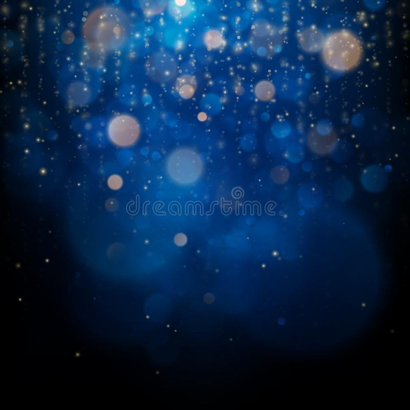 Blurred bokeh light on dark blue background. Christmas and New Year holidays template. Abstract glitter defocused. Blinking stars and sparks. EPS 10 vector file royalty free illustration