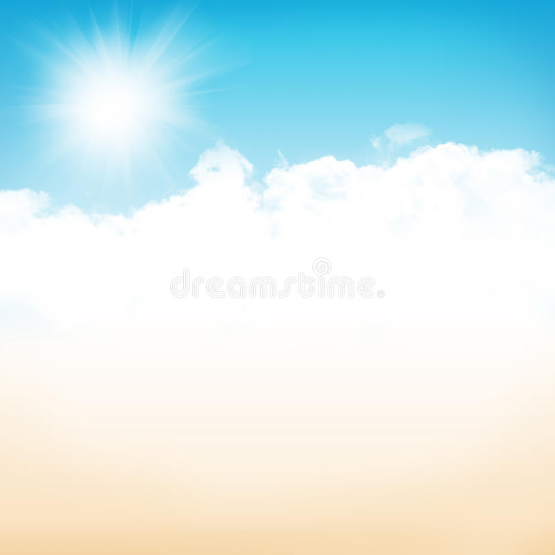 Background Of Blurred Beach And Sea Waves With Bokeh: Beach And Sea With Sunny Sky Stock Illustration