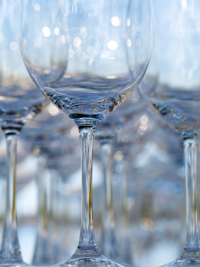 Blurred and bokeh of wine and champagne glass setting for wedding ceremony. stock photo