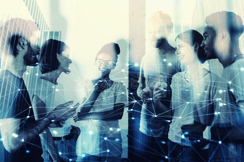 Blurred businessmen that work together in office. Concept of teamwork and partnership stock image