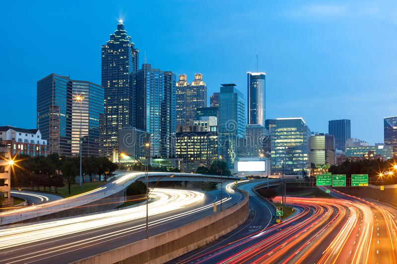 Blurred car lights on the freeway at downtown Atlanta stock photos