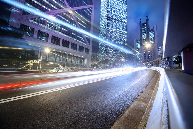 Blurred cars lights. Traffic lights blurred night city background