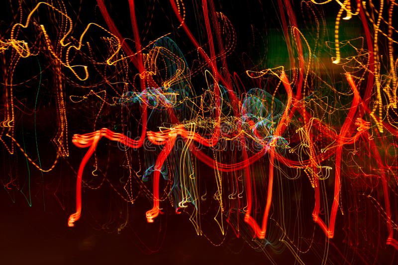 Blurred city lights at night stock images