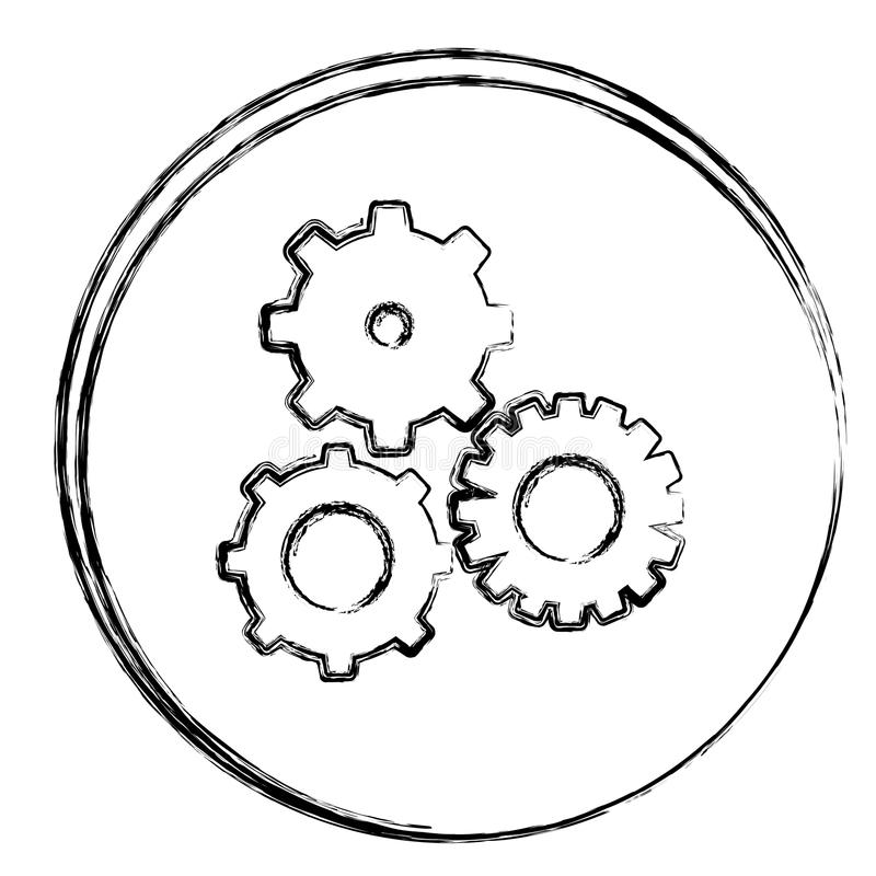 blurred contour circular frame with gear wheels icons royalty free illustration