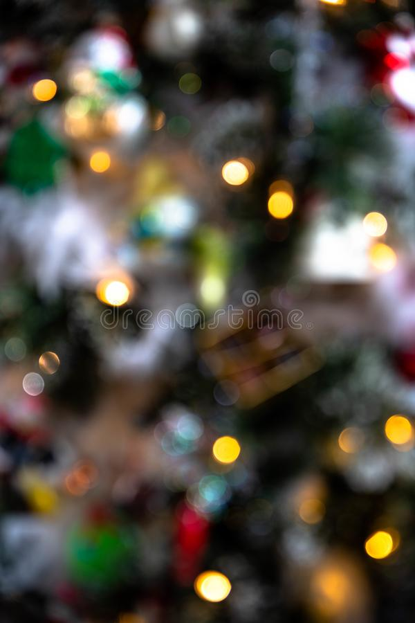 Blurred or Defocused Close Up of a Christmas Tree royalty free stock photos