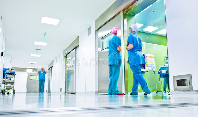 Blurred doctors surgery corridor royalty free stock photography