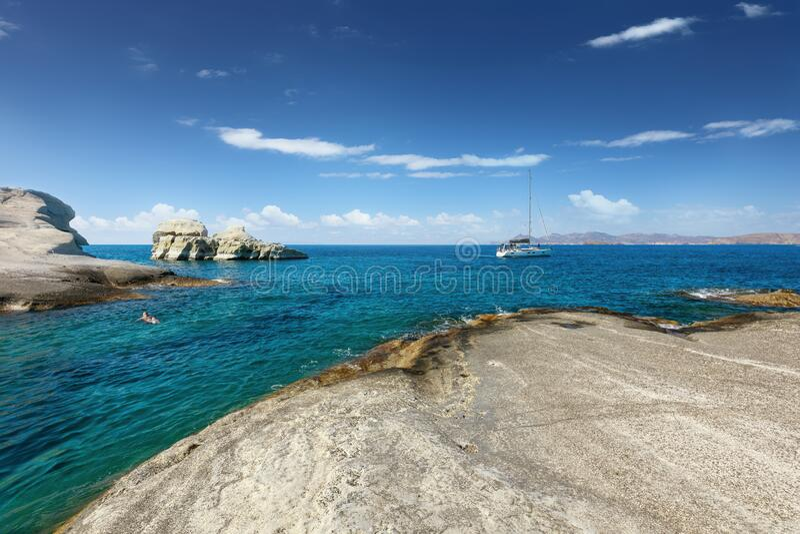 Clear waters of Sarakiniko bay, Milos island, Cyclades, Greece stock image