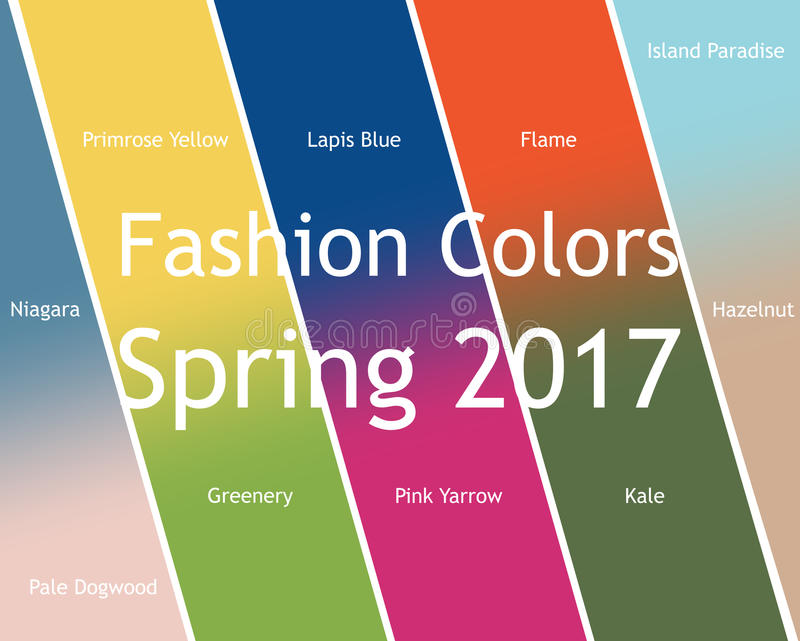 Blurred fashion infographic with trendy colors of the 2017 Spring. Niagara,Primrose Yellow,Lapis Blue,Flame,Island stock illustration