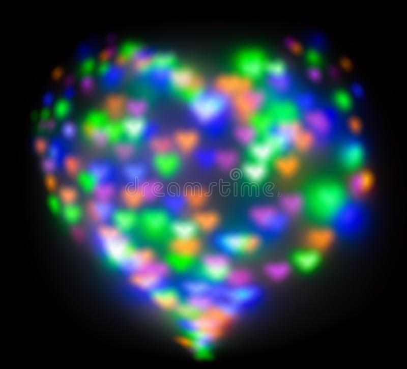 Blurred festive background with defocused colourful glitter formed a heart, bokeh in a shape of a heart. Original photographic. Effect. Pictures concept theme stock photo