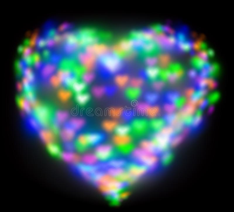 Blurred festive background with defocused colourful glitter formed a heart, bokeh in a shape of a heart. Original photographic. Effect. Pictures concept theme stock photography