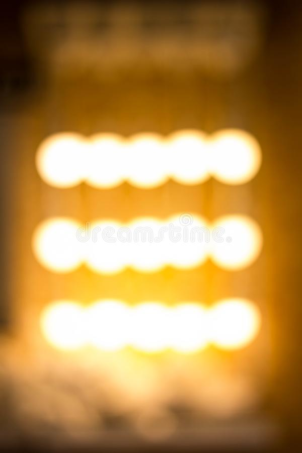 Blurred garland. City night light blur bokeh, defocused background. Christmas abstract pattern royalty free stock photography