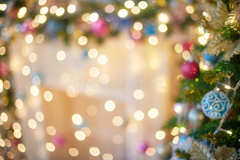 Blurred garland light bokeh. Christmas blur pattern, defocused background. Blurred garland light bokeh. Christmas abstract blur pattern, defocused background stock images