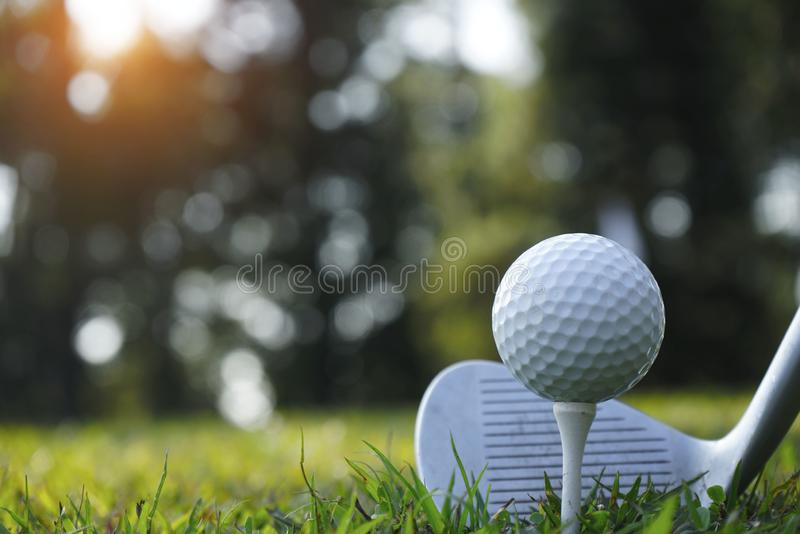 Blurred golf club and golf ball close up in grass field with sunset. Golf ball close up in golf coures at Thailand royalty free stock photos