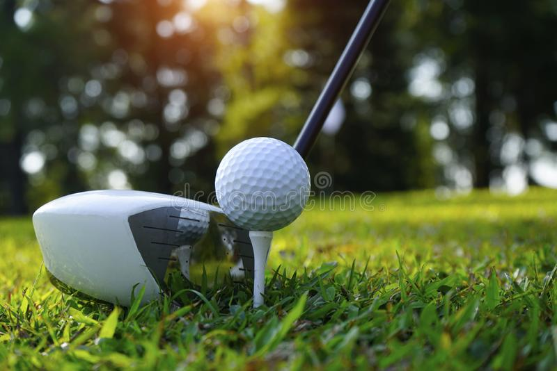 Blurred golf club and golf ball close up in grass field with sunset. Golf ball close up in golf coures at Thailand royalty free stock images