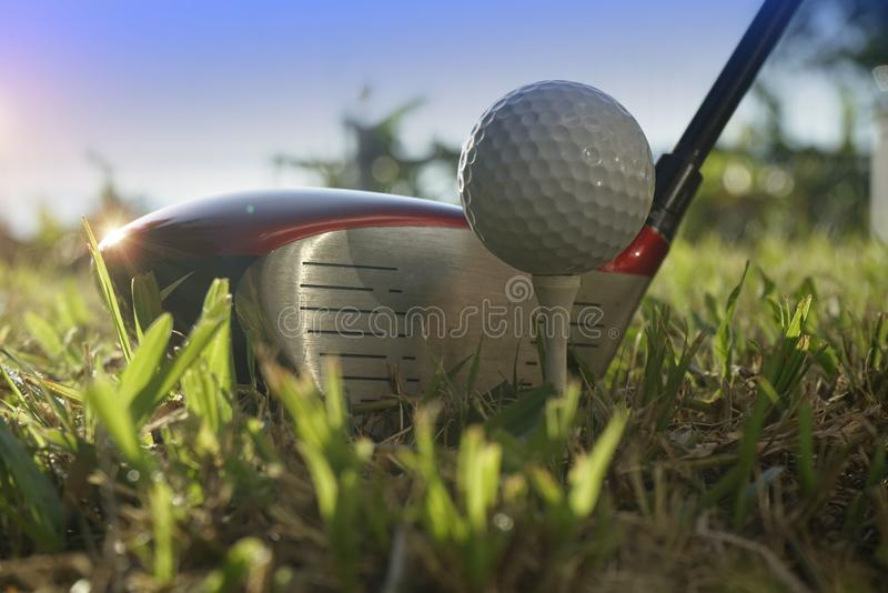 Blurred golf club and golf ball close up in grass field with sunset. Golf ball close up in golf coures at Thailand stock photos