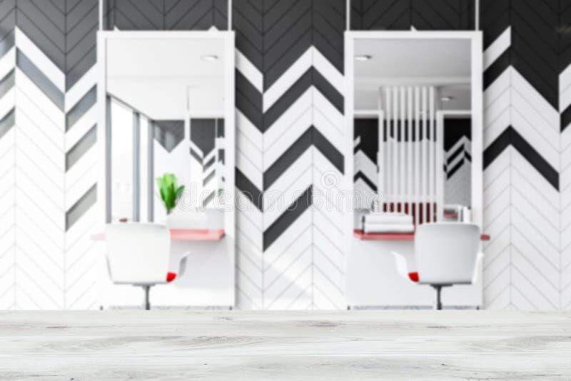 Blurred gray and white barber shop interior design stock illustration