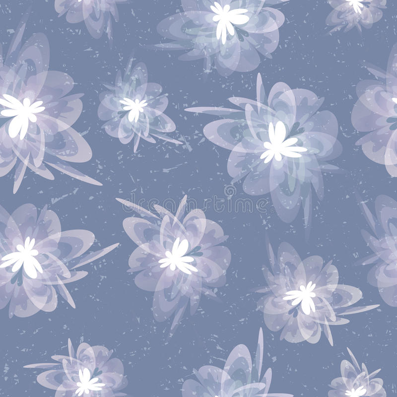 Blurred grungy vintage floral grey seamless background stock illustration
