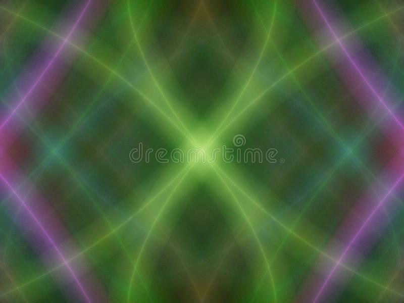 Really fuzzy logic. Blurred and hazy background different coloured line fractal pattern forming central focus stock illustration