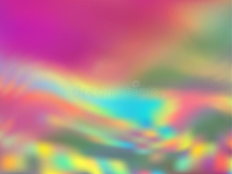 Blurred hologram texture gradient wallpaper. Creative rainbow spectrum background. Liquid colors splash background. Refulgent hologram neon glitch texture stock illustration