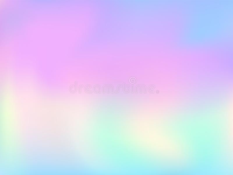 Blurred hologram texture gradient wallpaper. Elegant pastel rainbow unicorn background. Polar lights liquid colors background. Minimal hologram neon glitch stock illustration